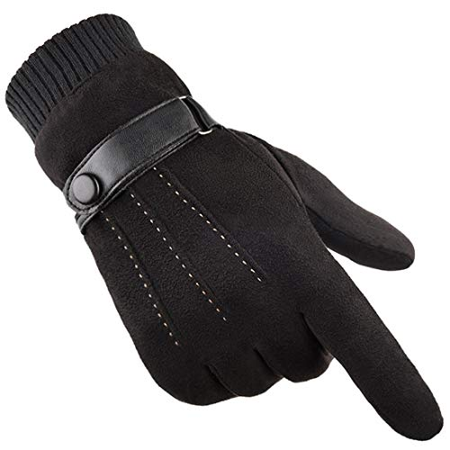 Gants Hiver chaud écran tactile pour homme femme thermiques en suede doublure polaire mitaines anti-glisse hivernales pour le sport en plein air Conduite Vélo Randonnée Course à pied Camping (noir)