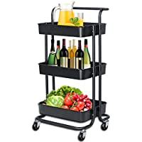Happikids 3-Tier Rolling Utility Cart With Handle Storage Shelves