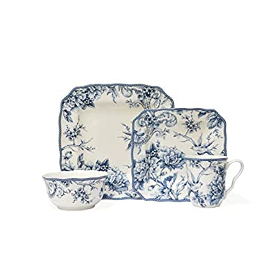 222 Fifth Adelaide Blue 16-piece Dinnerware Set, Service for 4