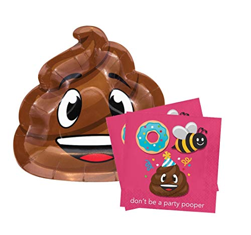 "Happy Birthday Poop Emoji Party 9"" Plates (16) Napkins (16)"