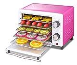 XIAOGING Secadora de fruta 5 capas de deshidratador de doble Control de Alimentos Horno automático Snacks deshidratación Secadora de frutas verduras carne y el chile sin BPA 300W (rosa)