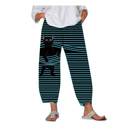 Pantalones Casuales De Bolsillo Sueltos con Estampado De Rayas De Animales para Mujer(Azul Claro,M)