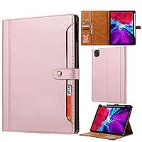 タブレットPCケース オートウェイクウェイク/スリープタブレットケースカバー付きiPad Pro 12.9インチ2021磁気クラスプフリップ折りたたみスタンドカバー用タブレットケース タブレット裏表紙 (Color : Pink)