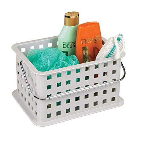 iDesign Spa BPAFree Plastic Small Stackable Basket with Handle  925quot x 7quot x 5quot Light Gray