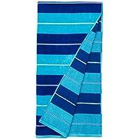 AmazonBasics - Toallas de playa de primera calidad, juego de 2 piezas, a rayas horizontales azules