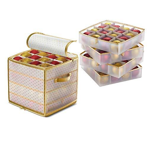 Gpure Organizador Cajas De Almacenaje Plegables 64 Celdas Bolas de Navidad Cajones Transparentes Plastico 30cm Cubo con Apretón y Dorados Cremallera Doble Almacenamiento para Pequeña Decoraciones
