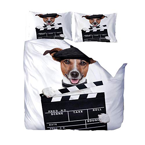 Kids Duvet Cover Set White Movie Dog Printed Bedding Set Microfiber Quilt Cover And 2 Pieces Pillowcases Duvet Set Gift For Teens Girls (W140 X L200Cm)