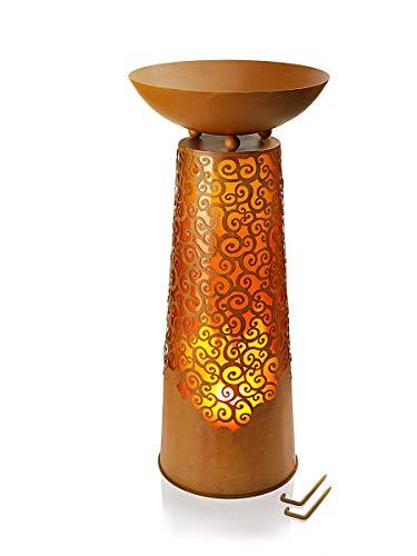 Pflanzsäule Chiara mit effektvoller LED-Beleuchtung   mit dekorativen Rankenmotiven   stimmungsvolle LED Beleuchtung   71 cm