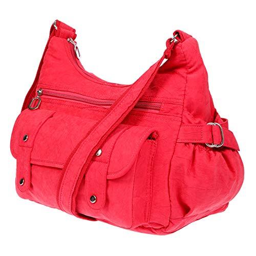 Christian Wippermann Damenhandtasche Schultertasche aus Canvas (Rot)