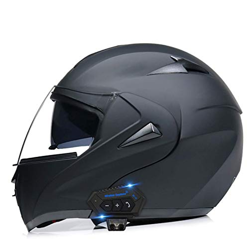 ququer Cascos Bluetooth Casco Integral de Motocicleta Casco de Motocicleta Integrado con Bluetooth, Casco anticolisión con Auricular Bluetooth de Doble Lente para Adultos y Hombres-B  S