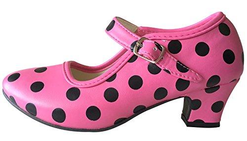 La Senorita Flamenco Shoes Spanish Princess Shoes Pink Black Polka Dot (3.5 M US Little Kid)