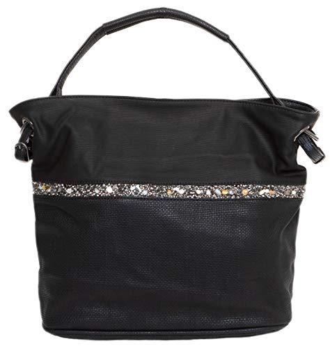 CAPRIUM Hobo Bag, Handtasche mit Quer verlaufendem Steine, Schultertasche, Damen 000F5929 (Schwarz)