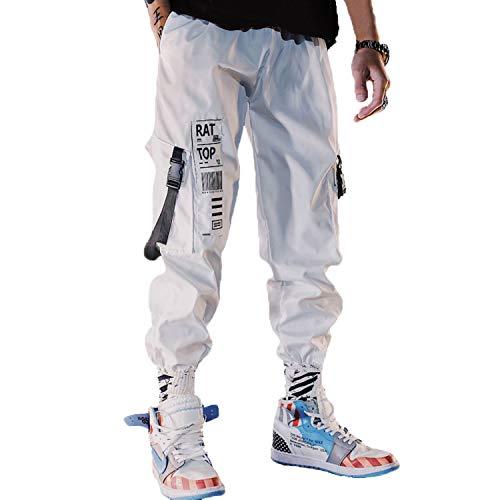 Men Joggers Cargo Street Wear Hip Hop Pants Lightweight Cargo Pants Street Style Fashion for Women (White, XL)