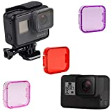 Dive Camera Lens Filter Compatible with GoPro Hero 5 and 6 (3-Pack) Waterproof Diving House Case Cover | Enhance Underwater Picture and Video Clarity | Red, Pink, Magenta