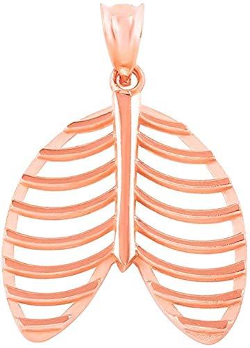 NC110 Collar con Colgante Colgante de anatomía de la Caja torácica Humana de Oro Rosa de 14 Quilates YUAHJIGE