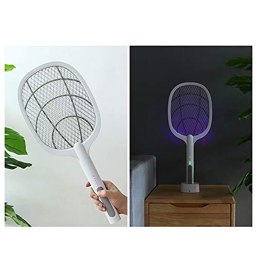 WANY Lámpara Antimosquitos Electrico Lámpara Anti Mosquitos UV 2 en 1,Carga USB,Voltaje de 3000 v,Lámpara Mosquito 360°,Red de Seguridad de 3 Capas,Interruptor Doble,batería de Larga duración.