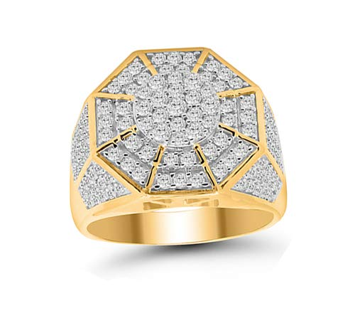 OMEGA JEWELLERY Men's 14K Yellow Gold Over Round Genuine Diamond Octagon Style Band Ring (1.75cttw, J Color, I2-I3 Clarity)