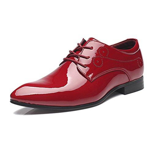 Hilotu Spielraum!Hochzeitsschuhe,Lackschuhe aus Lackleder für Herren Schnüren Sie sich formelle Business Oxford Schuhe (Color : Rot, Größe : 43 EU)