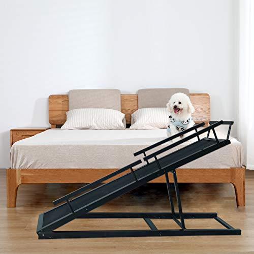 HOMOOK Small Dogs Bed Ramp(Jet Black), Freestanding Pet Ramp with PAW Grip Anti-Slip Surface for...