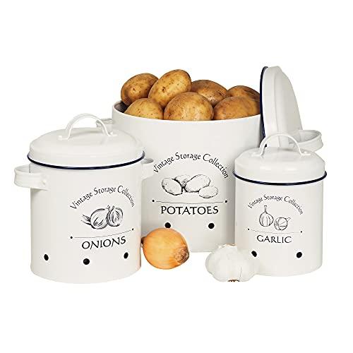 Gadgy Caja para Guardar Patatas Cebolas y Ajos | Juego de 3 Cajas Metalicas Vintage | Organizador Frutas y Verduras | Botes Cocina Almacenaje Vintage