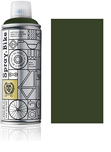 Fahrrad Lackspray in versch. Farben - Keine GRUNDIERUNG notwendig - Acryllack/Lack Spray in 400 ml Spraydose, Matt- und Klarlack Optik möglich (Braungrün Hercules, Matt)