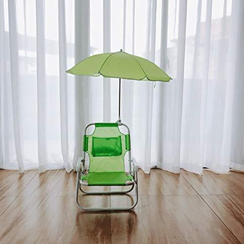 JCXOZ-Klappstuhl Sonnenschirm Stuhl Lounge Chair und Regenschirm Set im Freien Gartenmöbel Strand Terrasse Kinder Geneigte Multicolor Sonnenschirm Schatten Schutz (Color : Green)