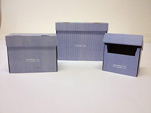 5 Stück Karteikästen A5 Karton Design weißblau faltbar passend für bis zu 300 Karteikarten