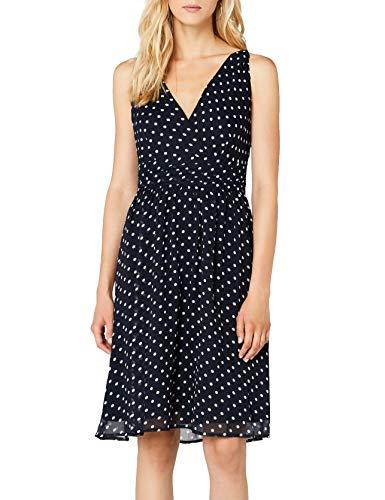 VERO MODA Damen Kleid Vmjosephine Sl Above Knee Dress Noos, Mini, Gr. 36 (Herstellergröße: S), Blau (Black Iris AOP:SNOW WHITE DOTS)