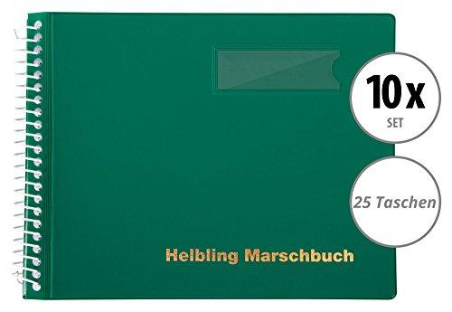 Helbling BMG25 Marschbuch 10er Set (10 Notenbücher mit je 25 blendfreien Klarsichthüllen, Umschlag aus flexiblem Kunststoff, bruchsichere Spiralbindung, wetterfest, Querformat: 18 x 14 cm) grün