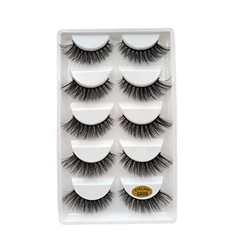 Sanfiyya 5Pairs 3D Künstliche Wimpern handgemachte Mink Lashes Dramatic Thick Gewirr Deluxe Artificial Lashes Natur Fluffy Wimper Weiche Wiederverwendbare Wimper für Frauen Make-Up (G806)