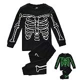 Upxiang - Pijama de dos piezas para niños con diseño de esqueleto de algodón, para otoño e invierno, de manga larga y pantalón pijama Sleepwear, cómodo y cálido Negro 110 cm