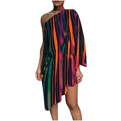 Women Fashion Choker Peacock Print One Shoulder Irregular Ruffled Hem Dress Knee-length Dress