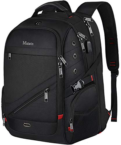 MATEIN Travel Laptop Backpack, 17 inch Waterproof Large Backpack for Men, Durable TSA Friendly Travel Bags for Women with USB Port, Big Computer College School Bookbags for Student Black