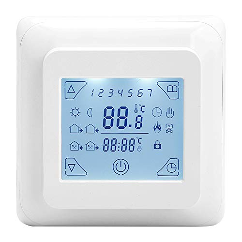 Atyhao Controlador de Temperatura Digital, LCD Digital Retroiluminación Blanca Calefacción por Suelo Radiante Controlador de Temperatura programable semanal Termostato eléctrico programable