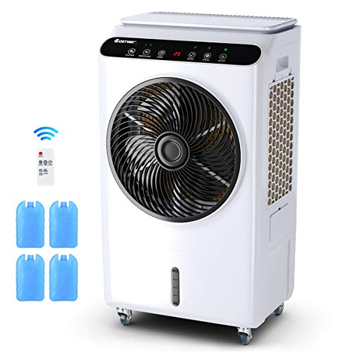 COSTWAY Evaporative Cooler, Industrial Air Cooler, 3 Speeds & Modes, Quiet Electric Fan & Humidifier, 7-Gallon Water Tank with Remote Control for Factory, Workshop, Supermarket (36-Inch Height)
