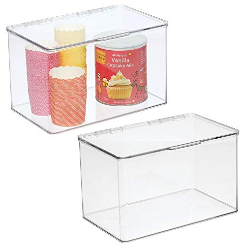mDesign Plastic Stackable Food Storage Container Bin with Hinged Lid - for Kitchen Pantry Cabinet FridgeFreezer - Deep Organizer Box for Snacks Produce Pasta - BPA Free 2 Pack - Clear