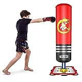 Dripex Punching-Ball Enfant 120 cm Sac de Frappe Boxe sur Pied avec Ventouses pour Karaté Taekwondo MMA Cadeau Noël et Nouvel an pour Enfants - Rouge
