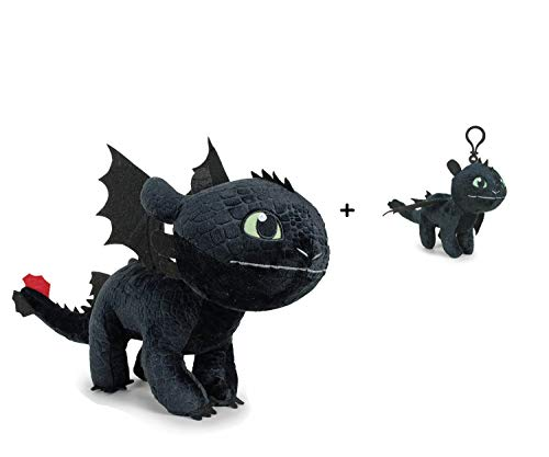 """Dragons Drachenzähmen leicht gemacht Plüsch Figur Kuscheltier Drachen Ohnezahn Toothless 11\""""/30cm - 76001661-1 + Schlüsselanhänger Ohnezahn 4\'33\""""/11cm"""