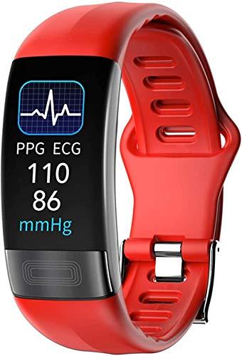 Smart Bracelet P11 Plus ECG Smart Band Orologio Cardiofrequenzimetro PPG Bracciale Pressione Sanguigna Impermeabile Wristband Facile da usare Moda Nero-Rosso