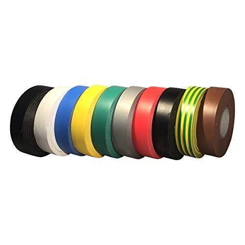 GTSE - Confezione da 10 rotoli di nastro isolante elettrico in PVC, 33 m x 19 mm, multicolore di alta qualità, 10 rotoli