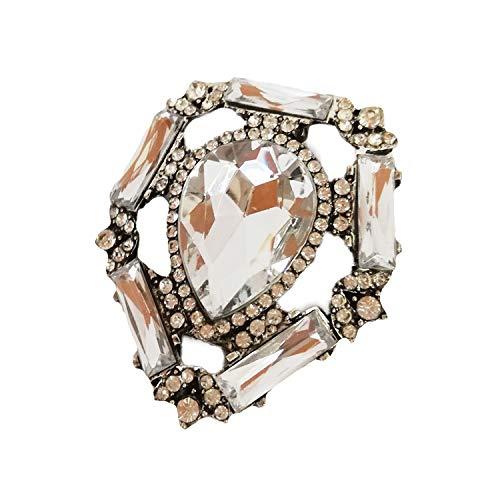 La Loria Damen 2 Schuhclips -Flatly Charming- in Silber Transparent Schuhschmuck abnehmbare Clips Brosche