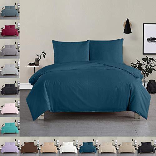 Bettwäsche Bettgarnitur Bettbezug 100% Baumwolle 135x200 155x220 200x200, Farbe Bettwäsche:Petrol, Größe Bettwäsche:155 x 220 cm