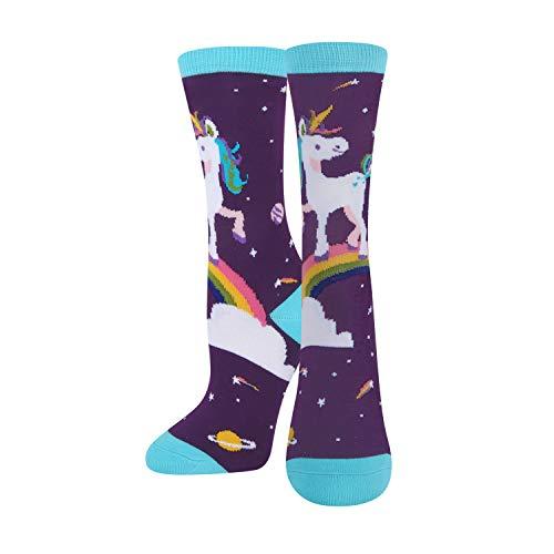 Girls Unicorn Crazy Silly Funny Cotton Crew Socks, Wacky Cute Socks for Big Kids