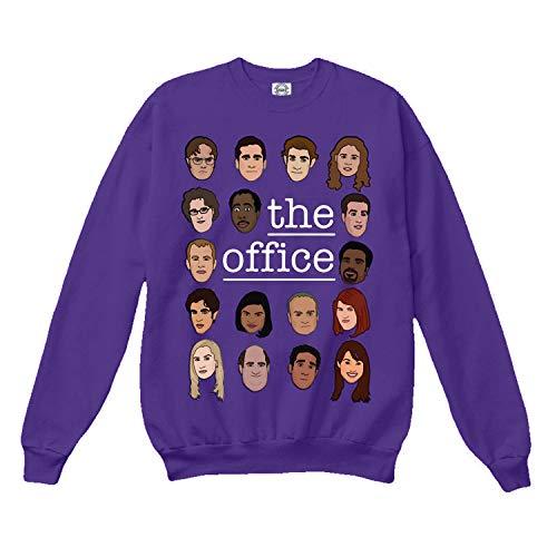 superhotapparel The Office tv Show Sweatshirt cast Cartoon face Dwight Schrute Sweater Jumper Merchandise Gifts Purple