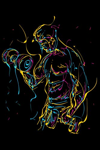 Abstrakt Kurzhantel Curls für Muskel Sport Kraftsport: DIN A5 Kariert 120 Seiten / 60 Blätter Notizbuch Notizheft Notiz-Block Fitness Gym Workout Training Fitnessstudio Motive