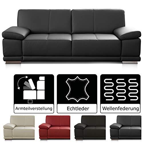 CAVADORE 3-Sitzer Sofa Corianne / Echtledercouch im modernen Design / Mit Armteilverstellung / 217 x 80 x 99 / Echtleder schwarz