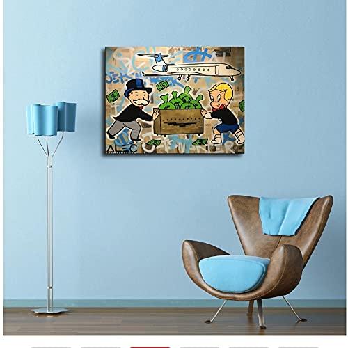 SYBS Art Deco Pop Art Graffiti Moderno Copa de Vino Graffiti Street Pop Art Dinero Lienzo póster Impreso en la Pared Imagen para Sala de Estar decoración del hogar - 70x90cm2pcs sin Marco