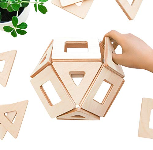 Big Future Toys Magnetic Wooden Blocks for Kids | Earthtiles - Wooden Magnetic Tiles - 32 Piece Set