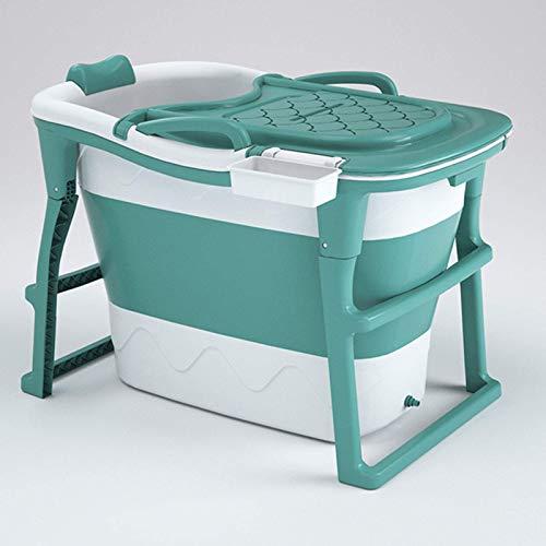 CHUTD Bañera Plegable portátil para Adultos, baño Familiar, SPA, Piscina Independiente, fácil de Instalar y drenar, Sauna, baño de Vapor, bañera para Adultos con Tapa, Verde