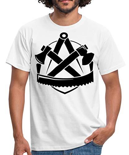 Zimmerer Logo Handwerk Wappen Zimmermann Männer T-Shirt, XL, Weiß